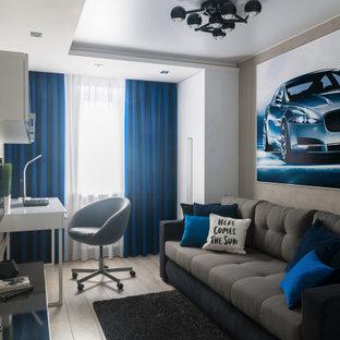Idéer för små barnrum kombinerat med sovrum, med grå väggar, laminatgolv och grått golv