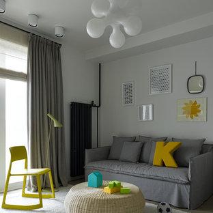 Пример оригинального дизайна: детская с игровой среднего размера в скандинавском стиле с белыми стенами, ковровым покрытием и белым полом для ребенка от 4 до 10 лет, мальчика