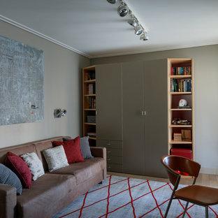 Пример оригинального дизайна интерьера: детская среднего размера в стиле современная классика с спальным местом, коричневым полом и бежевыми стенами для подростка, мальчика