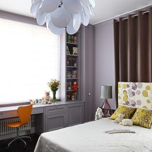 Idéer för ett modernt flickrum, med lila väggar