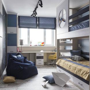 Пример оригинального дизайна: детская в современном стиле с спальным местом