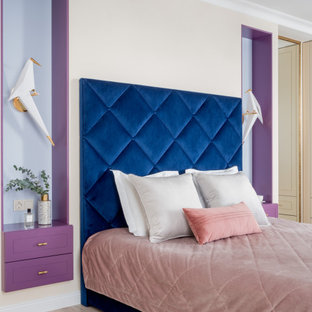 На фото: детская среднего размера в стиле современная классика с спальным местом, бежевыми стенами и бежевым полом для подростка, девочки с