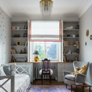 Idee per una cameretta per bambini da 4 a 10 anni chic di medie dimensioni con pareti grigie e pavimento marrone