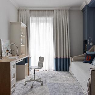 На фото: детская в стиле современная классика с рабочим местом, серыми стенами, ковровым покрытием и серым полом для мальчика