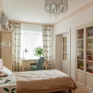 На фото: детская в стиле неоклассика (современная классика) с спальным местом и обоями на стенах для девочки с