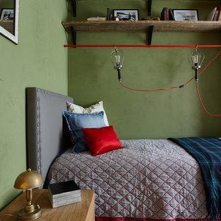 На фото: маленькая детская в стиле лофт с светлым паркетным полом, спальным местом и зелеными стенами для подростка, девочек или мальчиков с