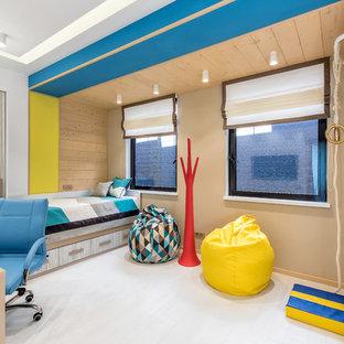 Неиссякаемый источник вдохновения для домашнего уюта: детская в современном стиле с спальным местом, белыми стенами и белым полом для подростка, мальчика
