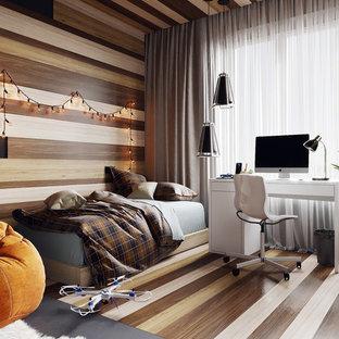 Diseño de dormitorio infantil contemporáneo, de tamaño medio, con paredes grises, suelo de corcho y suelo gris