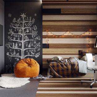 Idéer för ett mellanstort modernt pojkrum kombinerat med sovrum och för 4-10-åringar, med grå väggar, korkgolv och grått golv