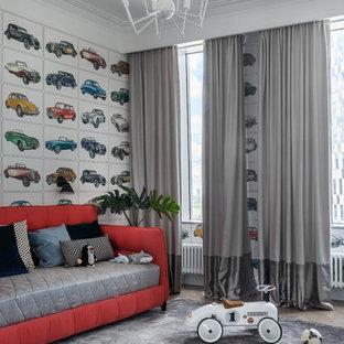 Стильный дизайн: детская среднего размера в современном стиле с разноцветными стенами для мальчика - последний тренд