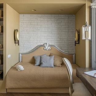 На фото: детская в стиле современная классика с спальным местом, белыми стенами, паркетным полом среднего тона и коричневым полом для девочки