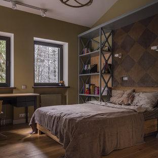 Стильный дизайн: детская среднего размера в стиле современная классика с спальным местом, паркетным полом среднего тона и коричневым полом для подростка, мальчика - последний тренд