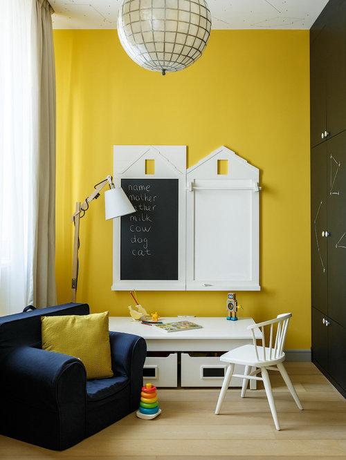 Chambre d'enfant contemporaine avec un mur jaune : Photos et idées ...