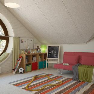 Idée de décoration pour une grande chambre de garçon de 4 à 10 ans nordique avec un bureau, un mur multicolore, un sol en liège et un sol blanc.