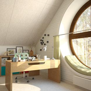 Imagen de habitación de niño de 4 a 10 años, escandinava, grande, con escritorio, paredes multicolor, suelo de corcho y suelo blanco