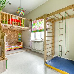 На фото: детские в стиле фьюжн с игровой комнатой и серыми стенами для ребенка от 4 до 10 лет, девочек или мальчиков