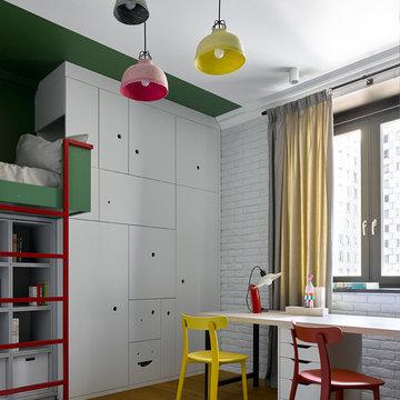 Современный интерьер с элементами индустриального стиля для семьи с двумя детьми