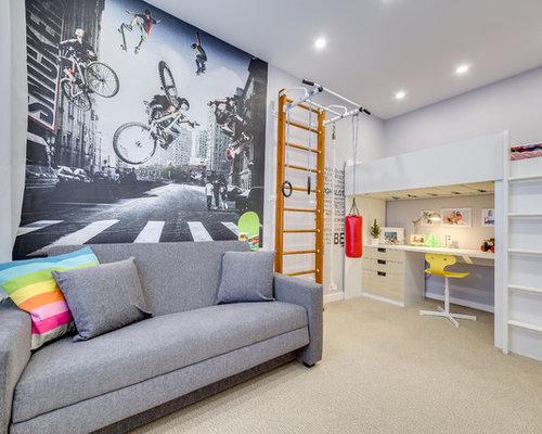 teen boy bedroom ideas. trendy boy carpeted and beige floor teen room photo in saint petersburg with gray walls bedroom ideas