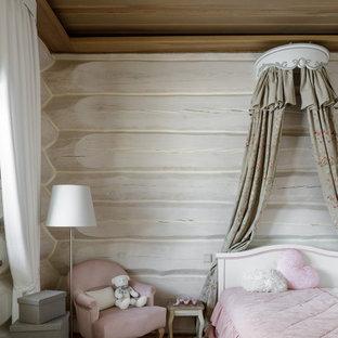 Idée de décoration pour une grand chambre d'enfant chalet en bois avec un mur blanc.