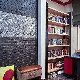 Immagine di una cameretta per bambini industriale di medie dimensioni con pareti grigie, pavimento in laminato e pavimento grigio