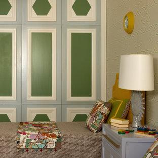 Idéer för funkis könsneutrala barnrum kombinerat med sovrum och för 4-10-åringar, med heltäckningsmatta och gult golv