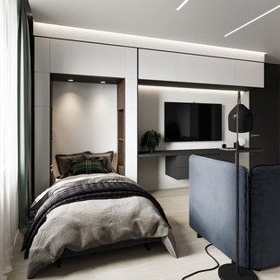 Idéer för att renovera ett mellanstort funkis könsneutralt barnrum, med vita väggar, laminatgolv och beiget golv