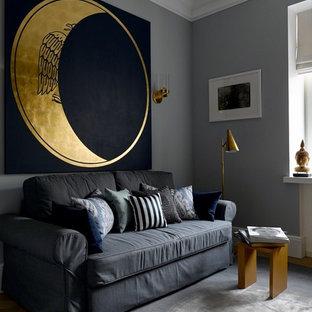Свежая идея для дизайна: детская в современном стиле с спальным местом и серыми стенами для мальчика - отличное фото интерьера