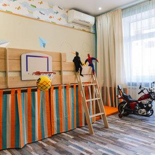 Идея дизайна: детская среднего размера в современном стиле с пробковым полом, разноцветными стенами и разноцветным полом для мальчика, ребенка от 4 до 10 лет