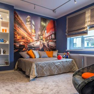 Новые идеи обустройства дома: детская в современном стиле с спальным местом, синими стенами и ковровым покрытием для подростка, мальчика
