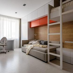 Diseño de dormitorio infantil actual con paredes marrones y suelo blanco