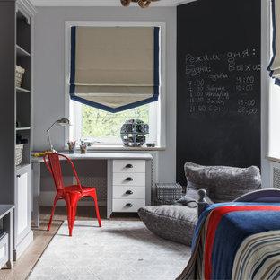 Идея дизайна: детская в стиле современная классика с спальным местом, серыми стенами, паркетным полом среднего тона и коричневым полом для мальчика