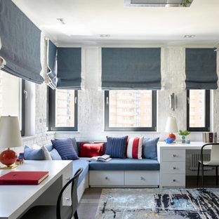 На фото: детская в современном стиле с спальным местом, белыми стенами, темным паркетным полом, серым полом и кирпичными стенами для подростка, мальчика с