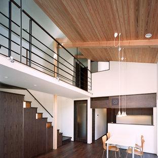 Immagine di una sala da pranzo aperta verso il soggiorno minimalista di medie dimensioni con pareti bianche, pavimento in legno massello medio, nessun camino, cornice del camino in intonaco e pavimento nero