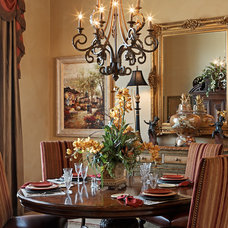 Mediterranean Dining Room by Vanguard Studio Inc.