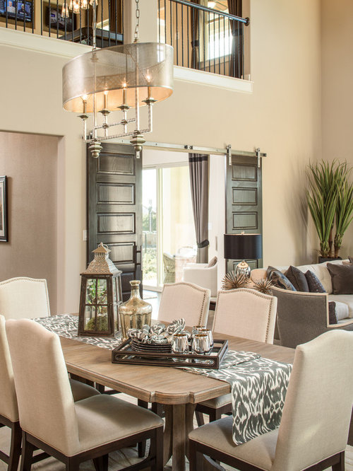 Dining Table Design Ideas dining table design ideas for small spaces Transitional Great Room Photo In Austin With Beige Walls And Dark Hardwood Floors