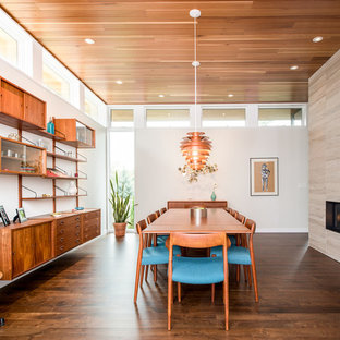Inspiration for a large modern dark wood floor dining room remodel in Minneapolis with white walls, a two-sided fireplace and a stone fireplace