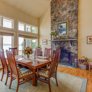 Example Of A Transitional Medium Tone Wood Floor And Brown Floor Dining  Room Design In Portland