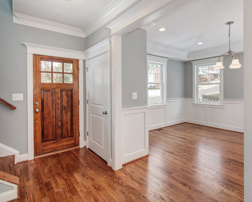 Wainscoting dining room houzz dining room transitional medium tone wood floor dining room idea in dc metro with gray sxxofo
