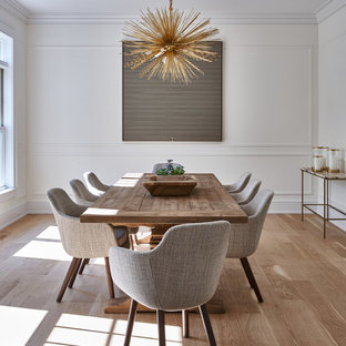 Dining room - contemporary medium tone wood floor and brown floor dining room idea in New York with white walls