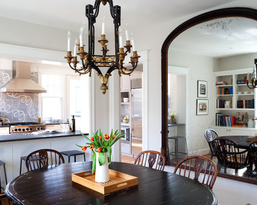 oversized mirrors living room. Example of a classic dining room design in DC Metro with white walls Oversized Mirror  Houzz