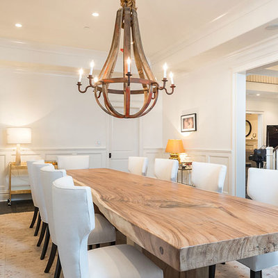 Dining room - transitional dark wood floor dining room idea in Los Angeles with white walls