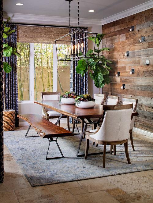 Farmhouse Dining Room With Travertine Floors Ideas Design Photos