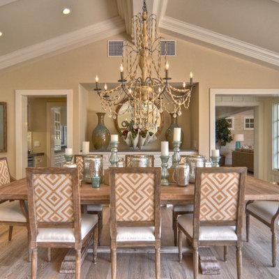 Dining room - coastal dark wood floor dining room idea in Los Angeles with beige walls