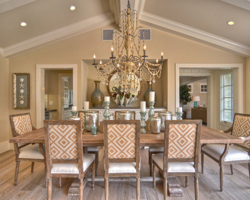 Beach Style Dark Wood Floor Dining Room Idea In Los Angeles With Beige Walls