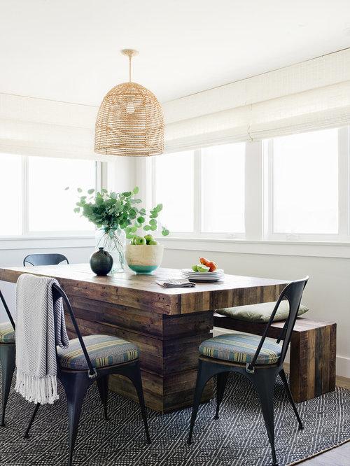 Example Of A Coastal Medium Tone Wood Floor And Brown Floor Dining Room  Design In Los