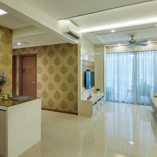 Immagine di una sala da pranzo moderna di medie dimensioni con pareti beige e pavimento in gres porcellanato