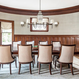 Inspiration For A Timeless Medium Tone Wood Floor And Brown Floor Enclosed Dining  Room Remodel In