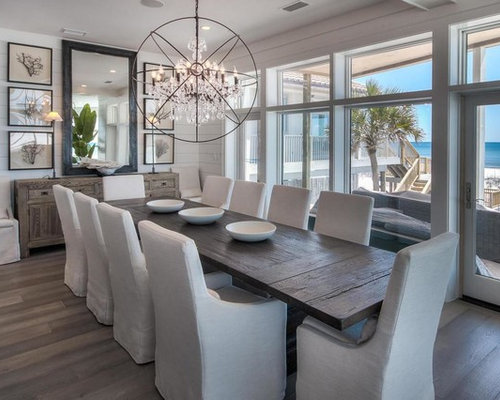 Mid Sized Coastal Dining Room Photo In Miami With White Walls And Dark Wood Floors