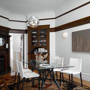 Aménagement d'une salle à manger contemporaine de taille moyenne et fermée avec un mur blanc, une cheminée d'angle et un sol en bois brun.
