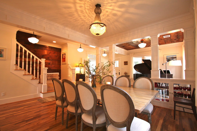traditional dining room 1920 Craftsman Rehab in Houston Heights Historic District